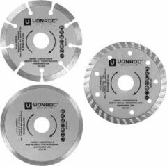 Grijze VONROC Diamantschijven set – Ø115MM – universeel – 3 stuks – steen, beton & keramiek