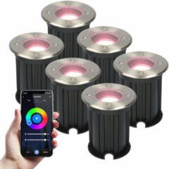Roestvrijstalen HOFTRONIC 6x Smart WiFi LED Grondspot - Maisy - Rond - RVS 5.5W - RGBWW - IP67 straal waterdicht - 3 jaar garantie