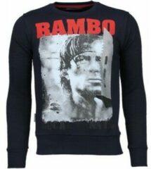 Blauwe Local Fanatic Rambo - Rhinestone Sweater - Navy Crewnecks Heren Sweater Maat 3XL