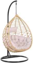 Beliani Hangstoel met standaard rotan beige/zwart ARSITA