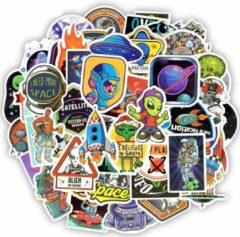 Blauwe Favorite Things 50 Space Galaxy stickers met aliëns, ruimtevaart, astronauten, raketten etc. Mix voor auto, laptop, skateboard, raam, muur etc.