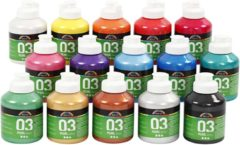 Creativ company A-color acrylverf, kleuren assorti, 03 - metallic, 15x500 ml