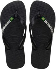 Havaianas Men's Brasil Logo Flip Flops - Black/Black - EU 45-46/UK 12-13 - Black
