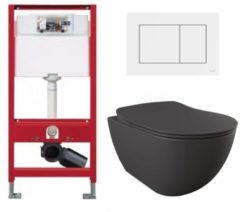Douche Concurrent Tece Toiletset - Inbouw WC Hangtoilet wandcloset - Creavit Mat Antraciet Rimfree Tece Now Wit