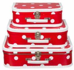 Rode Fun & Feest Party Gadgets Decoratie koffertje rood polka dot 30 cm