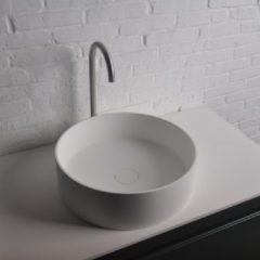 Ideavit Solidthin opbouw wastafel 40x40x12.5cm rond 0 kraangaten 1 wasbak Solid surface wit 281617