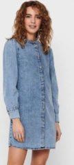 Blauwe Jacqueline de Yong Denim jurk Pofmouw