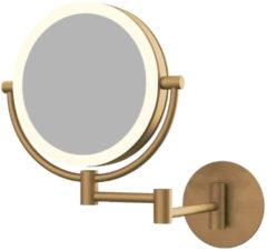 Douche Concurrent Cosmeticaspiegel 20x20cm Geintegreerde LED Verlichting Kantelbaar 3x Vergrotend Geborsteld Goud