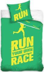 Carbotex dekbedovertrek Run Your Own Race groen 140 x 200 cm