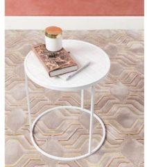 Zuiver Glazed Bijzettafel Ø40 Cm - Wit Keramiek Tafelblad - Wit Metalen Frame