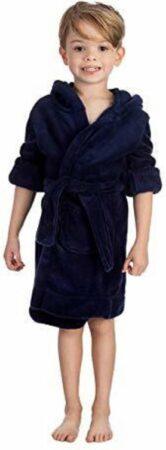 Afbeelding van Elowel kamerjas (baadjas) met capuchon voor jongens en meisjes donkerblauw (maat 8 Jaar)
