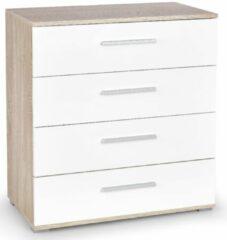 FD Furniture Ladekast Lima 82 cm hoog in sonoma eiken met hoogglans wit
