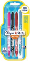 Papermate InkJoy 100 RT Zwart, Blauw, Roze, Rood Clip-on retractable ballpoint pen Medium 4 stuk(s)