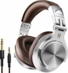 Grijze OneOdio A71 Fusion - Over-ear koptelefoon - hoofdtelefoon met micro - Gaming - PS4 - PC - XBOX - dj set - kop telefoon - professionele koptelefoon - muziek studio - dj set mengpaneel - dj Headphones - Gameheadset - Game - audiocall - Silver/brown