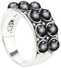 Symbols 9SY 0066 58 Zilveren Ring - Maat 58 - Parel - Grijs - Geoxideerd