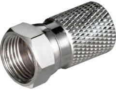 Goobay F-Stecker, Cu vernickelt, Länge 20mm große Nuss<br>für Kabel