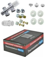Riko Parts onderblok set compleet 16 x 2 eurok. met 15 mm knel recht, chroom wit
