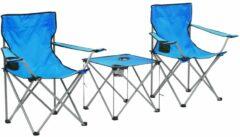 VidaXL Campingtafel en -stoelenset blauw 3-delig