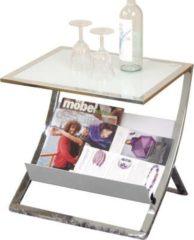 Beistelltisch Metall verchromt/ Glas weiss HHM24