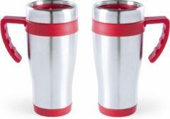 Carson 2x stuks rVS thermosbeker/warmhoud koffiebekers rood 500 ml - Isoleerbekers/reisbekers