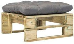 VidaXL Tuinpoef met grijs kussen pallet hout groen