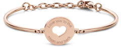 CO88 Collection Inspirational 8CB 90336 Stalen Armband met Hanger - Hart en Love You to The Moon and Back 17 mm - One-size - Rosékleurig