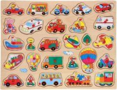 John Toys Houten knopjes/noppen puzzel voertuigen thema 45 x 35 cm speelgoed