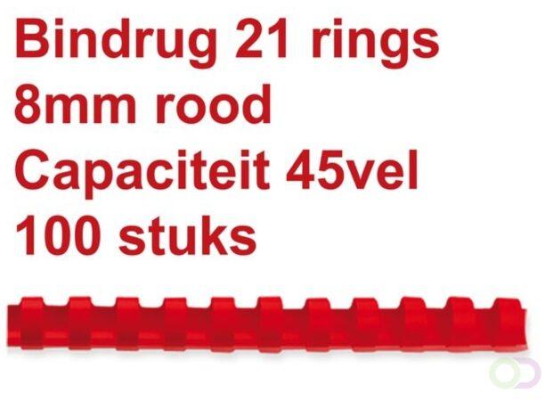 Afbeelding van Rode Fellowes bindruggen, pak van 100 stuks, 8 mm, rood