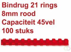 Rode Fellowes bindruggen, pak van 100 stuks, 8 mm, rood
