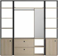 Naturelkleurige Gamillo Furniture Open kledingkast Duplex 211 cm breed in naturel kastanjehout