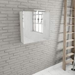 Zaro Beam mat wit spiegelkast 80x70x16cm 2 deuren