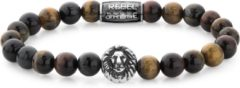 Rebel & Rose Rebel and Rose RR-8L028-S Rekarmband Beads Who's afraid of the Lion 8 mm zilverkleurig-bruin L 19 cm