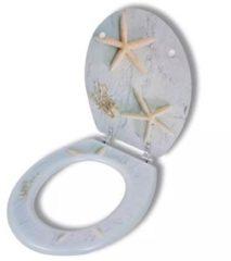 Grijze VidaXL WC-bril met MDF deksel en zeester-ontwerp