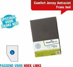 Witte Dexitex Frans bed Antraciet Hoeslaken Jersey katoen,Caravan,Camper LINKS