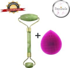 Demiracle Jade Face Roller met Paarse Siliconen Gezichtsborstel - Cadeau - Gezichtsroller - Massage Roller - Jade Roller - Rimpelverwijdering - Ontspanning - Kwaliteit