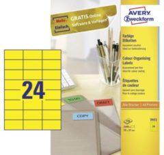 Avery-Zweckform 3451 Etiketten 70 x 37 mm Papier Geel 2400 stuks Permanent Universele etiketten 100 vel DIN A4