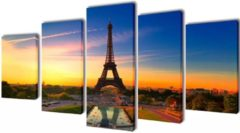 VidaXL Canvas muurdruk set Eiffel toren 200 x 100 cm
