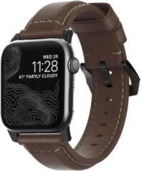 Nomad Traditioneel Apple Watch Bandje 42mm / 44mm - Bruin met zwarte gesp