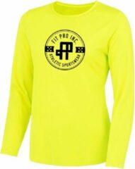 FitProWear Sportshirt Lange Mouw Geel Maat L - Lange Mouw - Sportkleding - Trainingskleding - Polyester - Sportshirt - Dames
