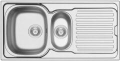 Nemo Go Hypero spoeltafel 1000 x 500 mm D92 mm met 15 bakken roestvrij staal satijn sifon dubbel plaatsbesparend plug met overloop plug zonder overloop