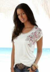 Witte BEACHTIME T-shirt (set van 2) met transparante sterretjes