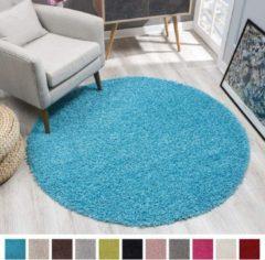 Impression Shaggy Hoogpolig Rond vloerkleed Turquiose Effen Tapijt Carpet - 150 x 150 cm