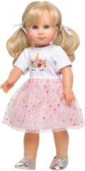 Heless poppenkleding jurk eenhoorn 28-35 cm wit/roze 2-delig