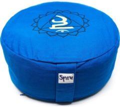 Spiru Meditatiekussen Katoen Blauw – 5e Chakra Vishuddha – 36 x 15 cm