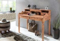 Wohnling Schreibtisch KADA Massivholz Akazie Sekretär 115 x 100 x 60 cm mit 3 Schubladen Konsolentisch im Landhaus-Stil