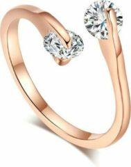 Roze Amodi 24/7 Jewelry Collection Ring Diamantjes Verstelbaar - Verstelbare Ring - Rosé Goudkleurig