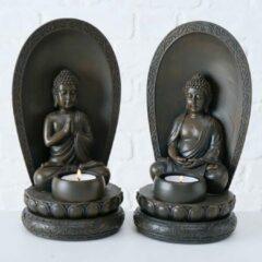 Boltze Buddha - Boedha - 23cm - 2 set - Bruin - Theelichthouder
