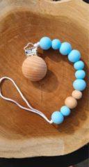 Babygifts4you Speenkoord - Blauw - koord - Kralen - Speen - siliconen - Speenclip - Kraamcadeau - Spenenketting- Houten kralen