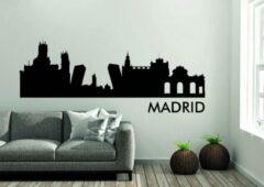 Zwarte Versierendoejezo Madrid Skyline Muursticker