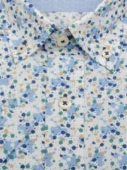 Blauwe Bos Bright Blue 106670 Casual overhemd met korte mouwen - Maat XL - Heren